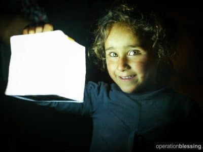 Solar lights, like this one, provide illumination for refugees